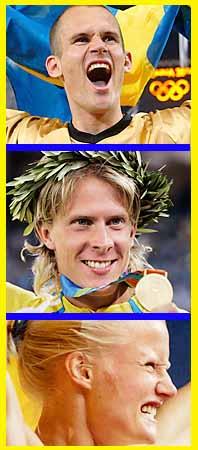 Tre svenska guldhjältar. Stefan Holm, Christian Olsson, Carolina Klüft. Foto: Pressens Bild