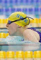 Simmerskan Sandra Erikson från Göteborg tog guld på 50 meter fjäril och slog världsrekord. Foto: Jonas Ekströmer/Pressens Bild