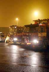 Ett stort område spärrades av i Helsingborg när den giftiga gasen kom ut i luften. Foto: Thomas Friström/PrB
