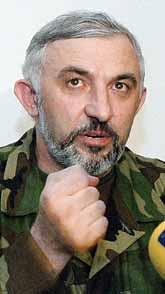 Aslan Maschadov var ledare för rebellerna i Tjetjenien. Foto: Pressens Bild