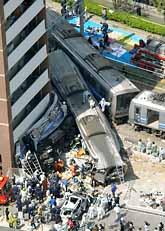 Många människor dog eller skadades i tågolyckan i Japan. Foto: Pressens Bild
