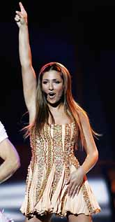 Elena Paparizou segrade i schlager-EM med låten My number one. Foto: Jessica Gow/PrB.
