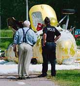 Helikoptern kraschade strax efter starten. Foto: Peppe Arninge/Pressens Bild