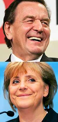 Gerhard Schröder och Angela Merkel var huvudpersonerna i valet i Tyskland. Foto: Markus Schreiber/PrB