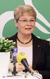 Centern ledare Maud Olofsson berättar om partiets budget. Foto: Henrik Montgomery/PrB