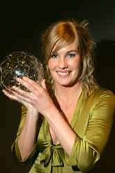 Hanna Marklund fick Diamantbollen, priset som bästa svenska fotbollsdam. Foto: Jack Mikrut/PrB