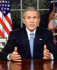 George Bush höll tal från sitt kontor i Vita Huset. Foto: Pressens Bild
