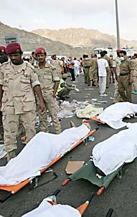 Flera hundra människor dog i trängseln i Mecka. Foto: Pressens Bild