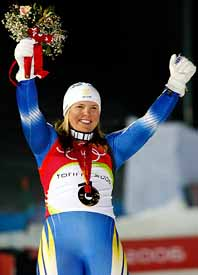 Anja Pärson tog OS-guld i slalom. Foto: Luca Bruno/PrB