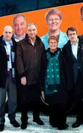 Fredrik Reinfeldt, moderaterna, Lars Leijonborg, folkpartiet, Maud Olofsson, centern och Göran Hägglund, kristdemokraterna. Foto: Mats Olsson/PrB