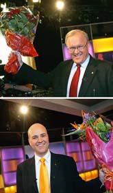 Göran Persson och Fredrik Reinfeldt diskuterade politik i tv. De är de politiker som har störst chans att bli statsminister efter valet. Foto: Mark Earthy/Pressens Bild