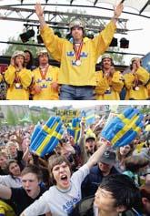 Mikael Samuelsson och hans lagkamrater firades av tusentals jublande fans. Foton: Fredrik Persson/Pressens Bild.
