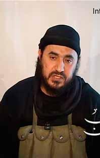 Det här är en tv-bild på al-Zarqawi. Han dödades av amerikanska bomber på torsdagen. Foto: Pressens Bild