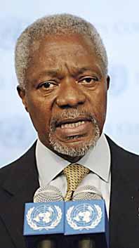 FNs chef Kofi Annan är chockad över Israels bombanfall som dödat många barn. Foto: Stan Honda/Pressens Bild