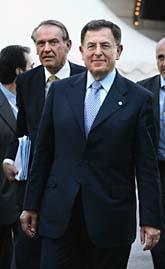 Fuad Siniora, Libanons premiärminister var en av politikerna på givarmötet i Stockholm. Sveriges utrikesminister Jan Eliasson var också med på mötet. Foto: Scanpix