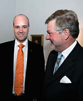 Fredrik Reinfeldt och talmannen Björn von Sydow. Foto: Anders Wiklund/PrB