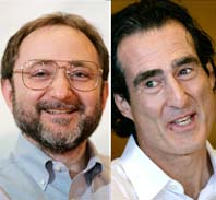 Andrew Z Fire och Craig C Mello får årets Nobelpris i medicin. Foto: Paul Sakuma och Steven Senne/Scanpix