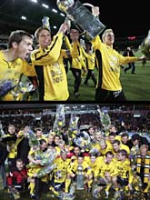 Elfsborgspelarna jublar över guldet. Foton: Måns Langhjelm/Scanpix