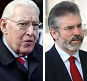 Protestanten Ian Paisley och katoliken Gerry Adams ska tillsammans leda Nordirland. Foton: Peter Morrison/AP/Scanpix