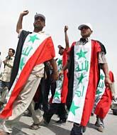 Folk i Irak demonstrerar mot USA. Foto: Hadi Mizban/Scanpix