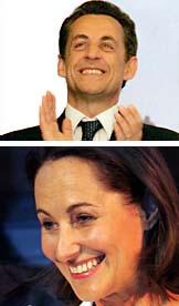 Nicolas Sarkozy och Ségolène Royal tävlar om att bli Frankrikes nästa president. Övre fotot: Christophe Ena/Scanpix Undre fotot: Michael Sawyer/Scanpix