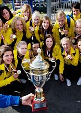 Sveriges damlag vann VM-guld i innebandy. Foto: Adam Ihse/Scanpix