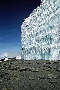 En glaciär i Kilimanjaro i Tanzania. Glaciären är en av dem som smälter snabbt. Foto: Lonnie Thompson/Scanpix