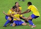 Brasilien är klart för VM-final i fotboll. Foto: Greg Baker/Scanpix