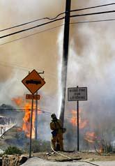 I Kalifornien kämpar brandmännen med att släcka de stora eldarna. Foto: Damian Dovarganes/AP Photo