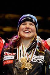 Anja Pärson med sina medaljer från VM i Åre. I år fick hon Bragdguldet för andra året i rad. Foto: Felipe Morales/SvD/Scanpix