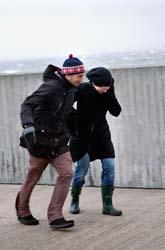 Ett par i Malmö försöker att ta sig fram i stormen. Foto: Drago Prvulovic/Scanpix