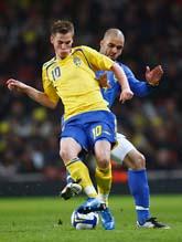 Markus Rosenberg var en av de bästa när Sverige mötet Brasilien. Foto: AP/Scanpix