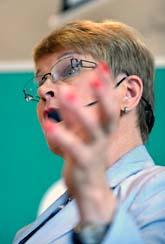 Centerns ledare Maud Olofsson talar på Gotland. Foto: Janerik Henriksson/ Scanpix