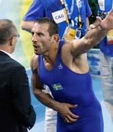 Ara Abrahamian skäller på en domare i OS. Foto: Ed Wray/Scanpix