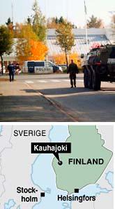I den finska staden Kauhajoki hände skottdramat. Minst nio människor är döda. Foto: Jussi Mustikkamaa/Scanpix