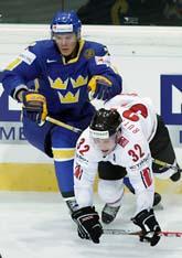 Sverige vann mot Schweiz i ishockey-VM. Foto: Salvatore di Nolfi/Scanpix