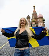 Malena Ernman på Röda Torget i Moskva, där finalen i Melodifestivalen är. Foto: Pontus Lundahl/Scanpix