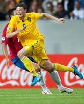 Marcus Berg gjorde två mål mot Serbien. Foto: Andreas Hillergren/Scanpix