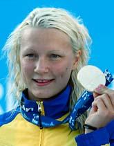 Sarah Sjöström med sitt VM-guld. Foto: Michael Sohn/Scanpix