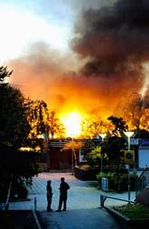 Nästan hela skolan blev förstörd i branden. Foto: Janerik Henriksson/Scanpix