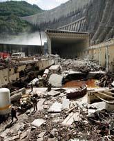 Vattenkraftverket i Sibirien efter olyckan. Foto: Ilya Naymushin/Scanpix