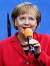 Angela Merkel firar valsegern Tyskland. Foto: Franka Bruns/Scanpix