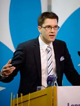Sverigedemokraternas ledare Jimmie Åkesson. Foto: Björn Lindgren/Scanpix