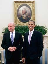 Fredrik reinfeldt och Barack Obama. Foto: Pablo Martinez Monsivais/Scanpix