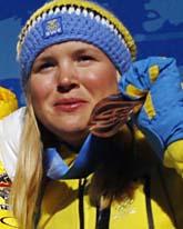 Anja Pärson gjorde en bragd och tog brons i OS. Foto: Scanpix