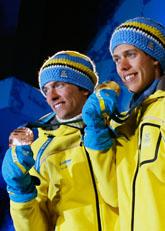 Hellner vann guld och Olsson tog brons i skiathlon i OS. Foto: Dmitry Lovetssky/Scanpix