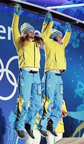 Haag och Kalla tog silver. Foto: Elise Amendola/Scanpix