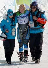 Anja Pärson kraschade i OS-backen. Foto: Scanpix