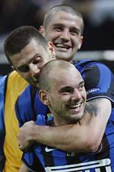 Inter vann med 3-1 mot Barcelona. Fotot: Luca Bruno/Scanpix