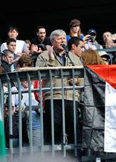 Lars Ohly talade vid demonstrationen mot Israel i Stockholm. Foto: Bertil Ericson/Scanpix